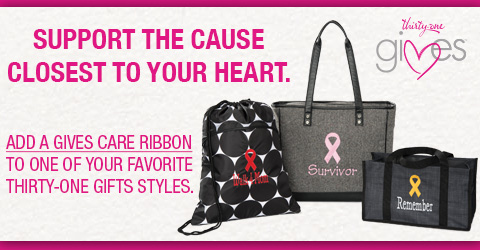 Support the cause closest to your heart. Add a Thirty-One Gives Care Ribbon to one of your favorite styles.